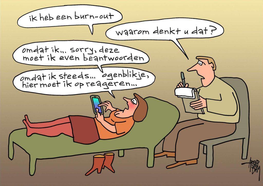 Cartoon Burn-outKlachten(therapie) Arend van Dam