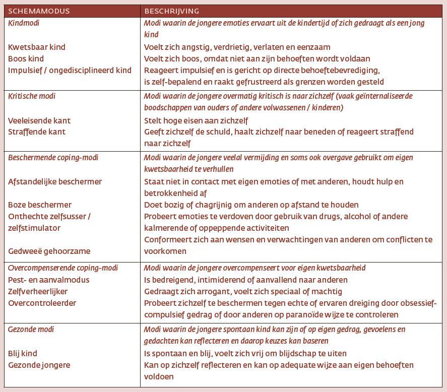 Tabel 1. Beschrijvingen van schemamodi